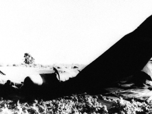 In this Jan. 17, 1966, file photo, part of the wrecked fuselage of a US Air Force B-52 bomber lies where it crashed near Palomares, northeast of Almeria, Spain, after a collision in flight with a USAF KC-135 tanker while refueling.(AP Photo/File)
