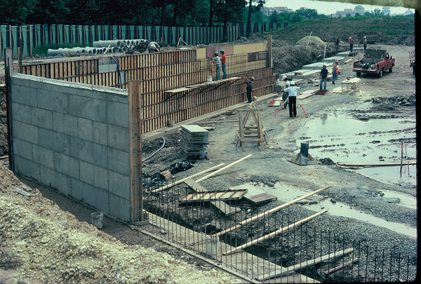 As the Wall rises on the National Mall in this June 1982 photo, the shape and scale of the memorial become clear. (Courtesy photo via Robert W. Doubek)