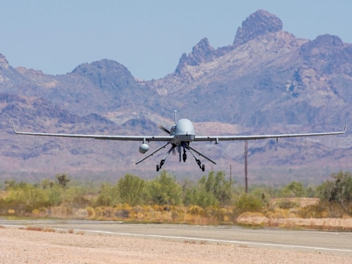 An Extended Range / Multipurpose (ER/MP) Unmanned Aircraft System (UAS), returns from functional testing during Project Convergence 20 at Yuma Proving Ground, Arizona, September 15, 2020. The ER/MP AUS autonomous weapons systems have the capacity to carry multiple payloads while delivering precise attacks against enemy forces, potentially preventing the necessity of ground force presence. (Spc. Jovian Siders/U.S Army)