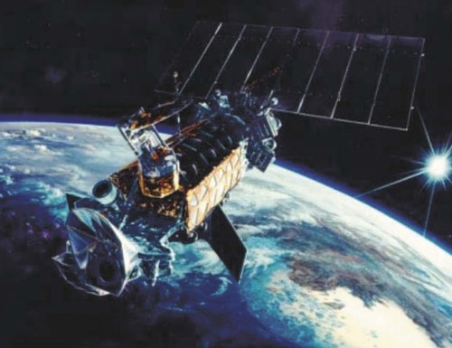 The new electro-optical/infrared satellite is intended to replace the Defense Meteorological Satellite Program. (Lockheed Martin)
