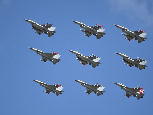 Danish F-16 fighters are seen during the Danish Air Show 2014 at Karup Air Base in Karup, June 22, 2014. AFP PHOTO / SCANPIX DENMARK / HENNING BAGGER +++ DENMARK OUT (Photo credit should read HENNING BAGGER/AFP/Getty Images)