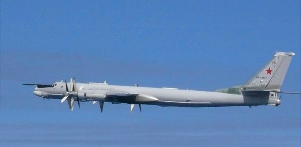 This image released by Joint Staff, Ministry of Defense, shows a Russian Tu-95 bomber which they said were flying near the Sea of Japan Tuesday, July 23, 2019. Japan has protested to Russia for allegedly violating Japanese airspace and to South Korea for firing warning shots there. (Joint Staff, Ministry of Defense via AP)