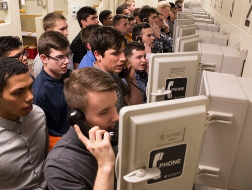 New U.S. Marine Corps recruits of Echo Company, 2nd Recruit Training Battalion, call their next-of- kin Jan 8, 2018, on Parris Island, S.C. Each recruit gets in contact with either their next-of-kin or their recruiter when they arrive on the depot. (Cpl. Vanessa Austin/Marine Corps)