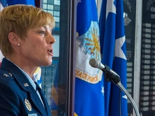 Brig. Gen. Kristin Goodwin speaks during the Graduation Tapping Ceremony at the U.S. Air Force Academy in Colorado, May 21, 2018. (Senior Airman Arielle Vasquez/Air Force)