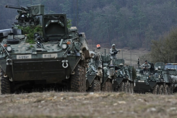 Troopers assigned to 4th Squadron, 2nd Cavalry Regiment assemble after training in Hohenfels, Germany. (Army)