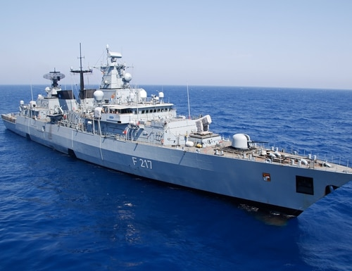 The German navy's Brandenburg-class frigate Bayern set sail for the Indo-Pacific on Aug. 2, 2021. (German navy photo)