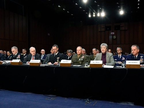The service secretaries and service chiefs testified before the Senate Armed Services Committee on March 7, as the committee examines problems with privatized military housing for service members and their families. (Wayne Clark/Air Force)