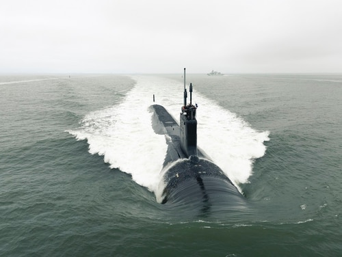 The Virginia-class attack submarine Indiana departs Newport News Shipbuilding to conduct sea trials. The Indiana is one of the last of the Block III Virginia subs, and the Navy is preparing to award the Block V contract. (Matt Hildreth/U.S. Navy)