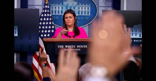 White House press secretary Sarah Huckabee Sanders speaks during the daily press briefing at the White House, Monday, Sept. 10, 2018, in Washington. (Evan Vucci/AP)