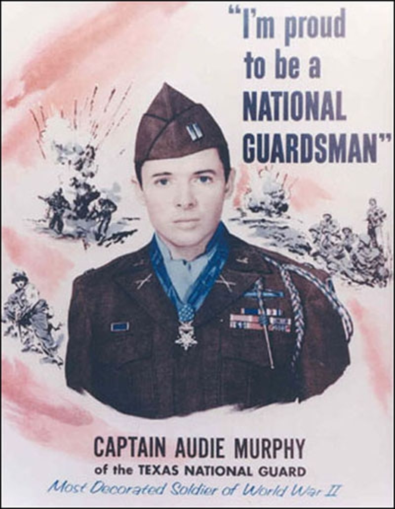 On 3 September 1950 at Camp Mabry, Texas, Hollywood actor Audie Murphy joined the Texas Army National Guard to show his support for the war effort in Korea. Promoted to captain, Murphy reported to the 141st Infantry, 36th Infantry Division, although that was a temporary assignment. The National Guard Bureau leaned on his fame to help keep enlistments up despite war weariness. The ads, speaking tours and other pitches continued after his movie career exploded in 1951 with his starring role as a young soldier in the