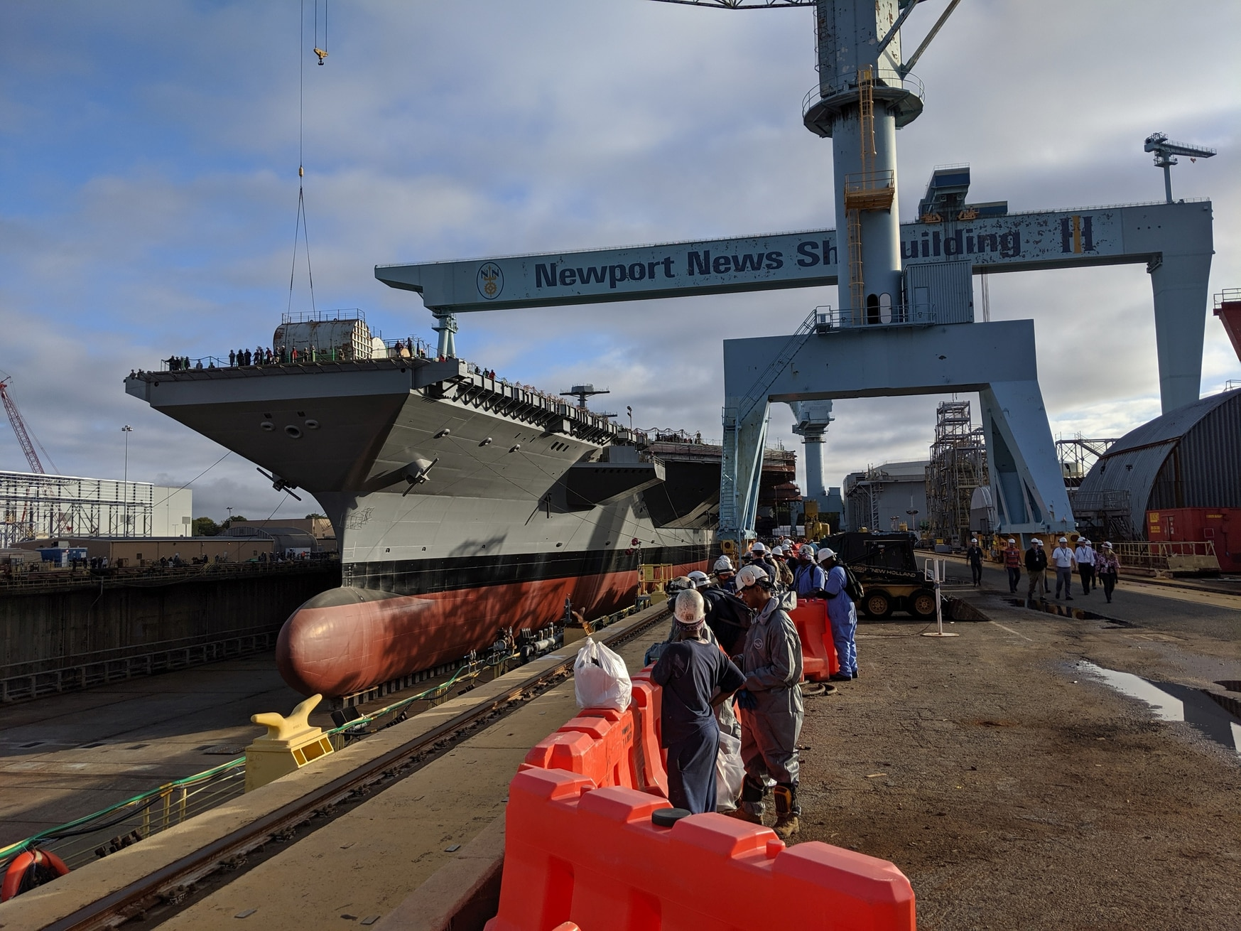 The future U.S. Navy aircraft carrier in dry dock on Oct. 29 in Newport News, Va. (David B. Larter/Staff)