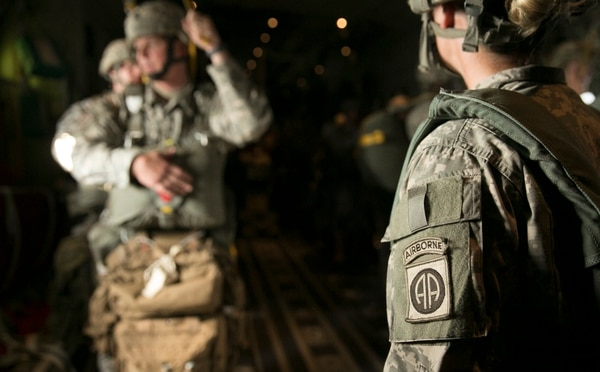 Paratroopers from the 82nd Airborne Division conduct a proficiency jump into the Sicily Drop Zone at at Fort Bragg in Fayetteville, N.C., on Saturday, August 15, 2015.
