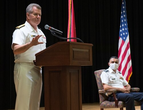 Vice Adm. Samuel Paparo, left, commander of U.S. Naval Forces Central Command, U.S. 5th Fleet and Combined Maritime Forces, speaks at the Combined Task Force (CTF) 152 change of command ceremony at Naval Support Activity Bahrain, Aug. 31, 2020. (MC3 Dawson Roth/Navy)