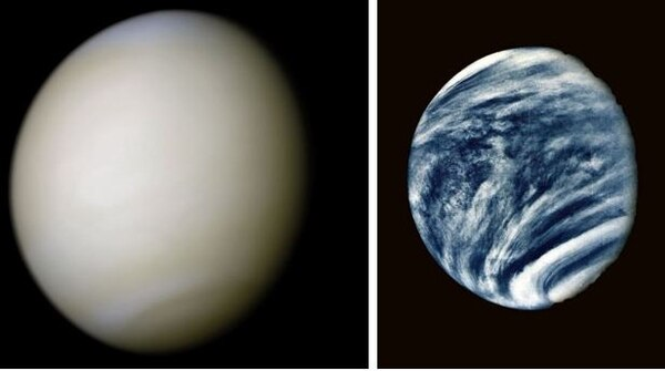 Left: True color image of Venus taken by Mariner 10. Right: Venus as imaged by Mariner 10 using an ultraviolet filter to highlight the clouds that are invisible in the visible spectrum. (National Aeronautics and Space Administration)