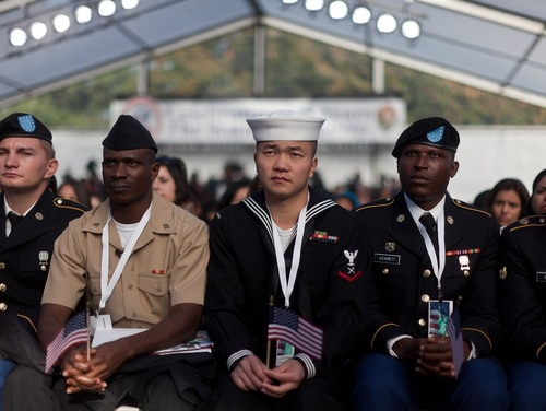 A group of U.S. service members were part of a group of 125 immigrants that received their citizenship on Liberty Island in New York City on Oct. 28, 2011. The event was part of the celebration of the 125th anniversary of the Statue of Liberty's dedication. (Sgt. Randall Clinton/Marine Corps)