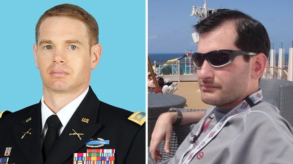 Maj. Jeffrey Jager, left, and former Marine Corps Sgt. Aaron Kennedy.