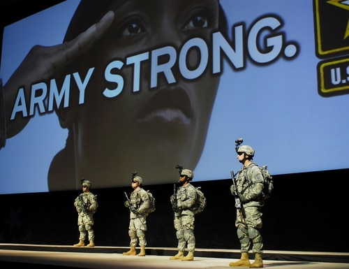 Then-Army Secretary Francis Harvey unveiled the Army Strong campaign at the 2006 Association of the U.S. Army annual meeting in Washington, D.C. The service is now seeking a replacement slogan, according to the sergeant major of the Army. (Wikimedia Commons)