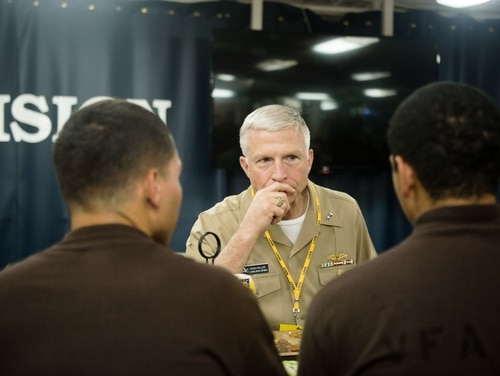 Then Rear Adm. Craig Faller, Navy Chief of Legislative Affairs, eats lunch with sailors on USS John C. Stennis during a July 2016 exercise. Faller, now the nominee to take over U.S. Southern Command, faced harsh questioning at his confirmation hearing on Tuesday. (MC3 Kenneth Rodriguez Santiago/Navy)