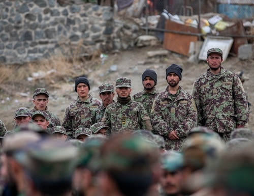 Afghan National Army trainees stand while waiting to be greeted by Afghan Minister of Defense Asadullah Khalid, Deputy Defense Minister Dr. Yasin Zia and Resolute Support Commander Gen. Scott Miller in Kabul, Afghanistan, March 5, 2020. (Spc. Jeffery J. Harris/Army)