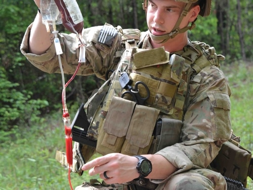 A medic from the 75th Ranger Regiment conducts combat trauma management training April 15 at Fort Benning.