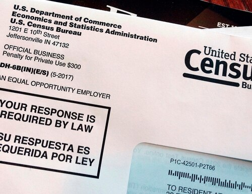 This March 23, 2018, file photo shows an envelope containing a 2018 census letter mailed to a U.S. resident as part of the nation's only test run of the 2020 Census. (Michelle R. Smith/AP)