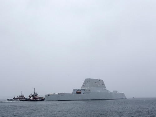 The USS Zumwalt, the Navy's new guided missile destroyer heads out to sea, Monday, March 21, 2016, in Phippsburg, Maine. The ship class is changing missions to focus on surface strike. (AP Photo/Robert F. Bukaty)