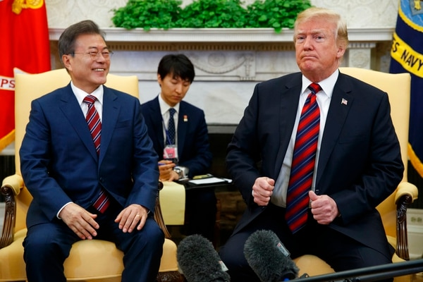 President Donald Trump meets with South Korean President Moon Jae-In in the Oval Office of the White House, Tuesday, May 22, 2018, in Washington. (Evan Vucci/AP)