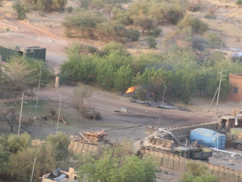 The French camp's entrance in the bottom right is seen demolished in the aftermath of an attack on the UN Super Camp in Mali in April 2018. (Courtesy photo)