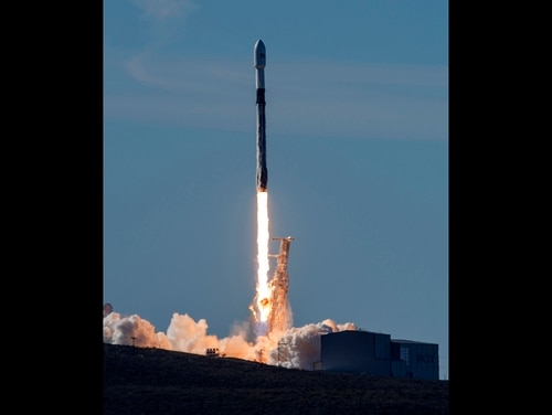 A SpaceX Falcon 9 rocket, carrying the Spaceflight SSO-A: SmallSat Express, launches from Space Launch Complex-4E at Vandenberg Air Force Base, Calif., Monday, Dec. 3, 2018. The SpaceX rocket carrying 64 small satellites, marks the first time the same Falcon 9 rocket has been used in three space missions. (Senior Airman Clayton Wear/U.S. Air Force via AP)