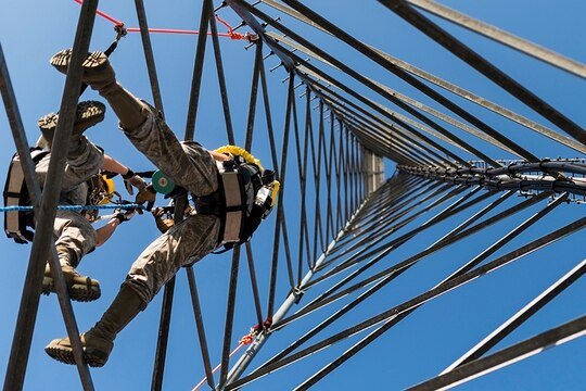5G requires a larger number of towers and antennas, positioned in a way that they are more closely aligned and closer together. Here, Airman 1st Class Cassandra Herlache, 9th Operation Support Squadron radar, airfield and weather apprentice, executes a climb during a trial run at Beale Air Force Base, Calif. (Senior Airman Justin Parsons/Air Force)