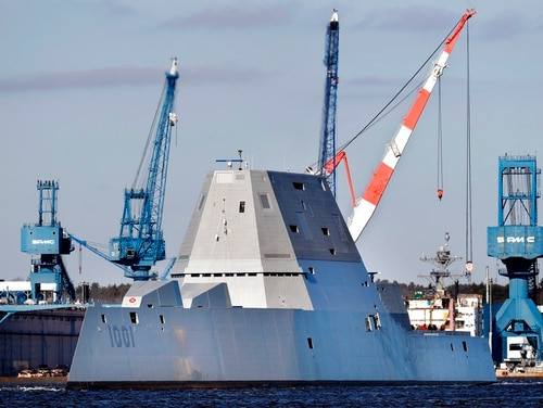 Bath Iron Works builds warships such as the Zumwalt-class guided-missile destroyer Michael Monsoor. (AP)
