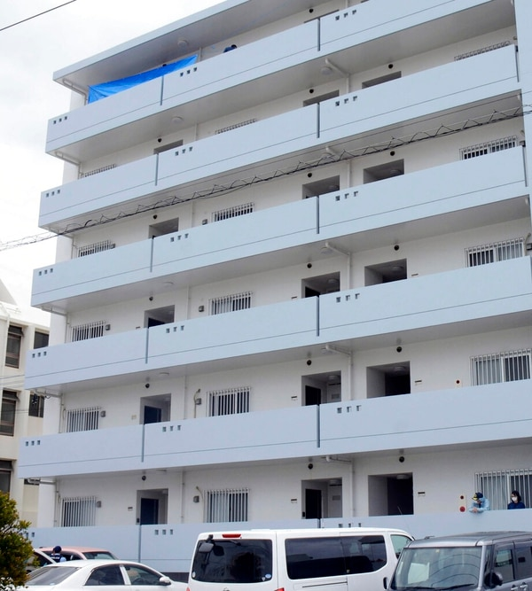 The apartment where a U.S. servicemen and a Japanese woman were found dead, in Okinawa's Chatan town on April 13. A U.S. serviceman has fatally stabbed a Japanese woman and then killed himself , according to the Japanese Foreign Ministry, amid growing resentment about the presence of American troops in Japan's southwestern region. (Kyodo News via AP)