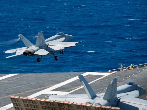 150920-N-MQ094-034 ATLANTIC OCEAN (Sept. 20, 2015) An F/A-18E Super Hornet attached to the Pukin' Dogs of Strike Fighter Squadron (VFA) 143 launches from the flight deck of the aircraft carrier USS Harry S. Truman (CVN 75). The Harry S. Truman Carrier Strike Group is underway participating in a composite training unit exercise in preparation for a future deployment. (U.S. Navy photo by Mass Communication Specialist 3rd Class E. T. Miller/Released)