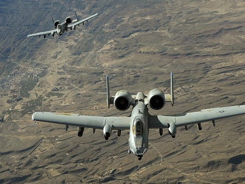 A-10 Thunderbolt IIs fly a combat mission over Afghanistan. Sharp disputes arose again at a congressional hearing over Air Force plans to replace the A-10 as a close air support platform (Staff Sgt. Aaron Allmon/Air Force)