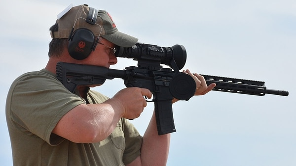 Instead of traditional optics, our rifles were topped with FLIR ThermoSight Pro Series PTS736 sights during a fam fire out at the Gunsite Academy. (Photo: Ken Perrotte)