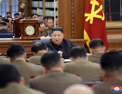 "North Korean leader Kim Jong Un has vowed to bolster his nuclear deterrent in face of ""gangster-like"" U.S. sanctions and pressure. (Korean Central News Agency/Korea News Service via AP)"