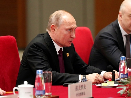 Russian President Vladimir Putin in Beijing on Friday. (Kenzaburo Fukuhara/Pool Photo via AP)
