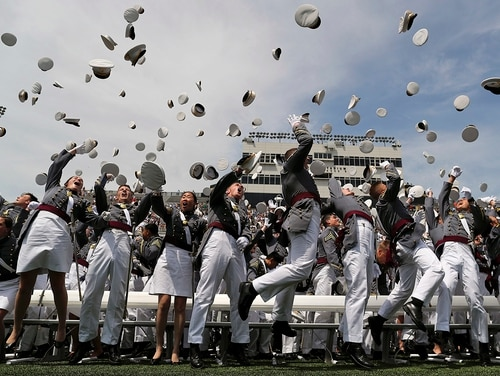 West Point graduates toss their caps into the air at the end of graduation ceremonies on May 26, 2018, in West Point, N.Y. (Julie Jacobson/AP)