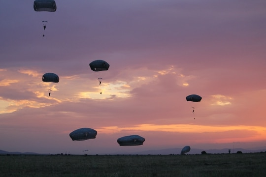 Paratroopers at Swift Response were given a stunning sunset at Bezmer Air Base as the back drop for their jump. (Jen Judson/Staff)