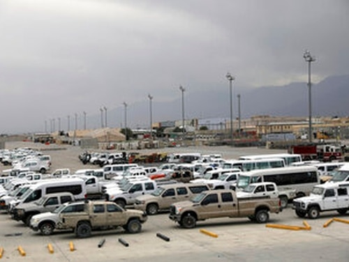 Vehicles are parked at Bagram Airfield after the American military left the base, in Parwan province north of Kabul, Afghanistan, Monday, July 5, 2021. (AP Photo/Rahmat Gul)