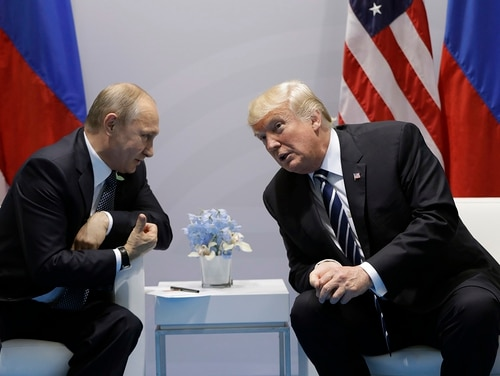 In this July 7, 2017, file photo, President Donald Trump meets with Russian President Vladimir Putin at the G20 Summit in Hamburg. Trump is expected to discuss nuclear arms treaties with Putin during their summit in Finland. (Evan Vucci/AP)