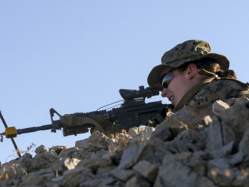 A Marine participates in an exercise during the Infantry Officer Course at Marine Corps Air Ground Combat Center Twentynine Palms, California, Sept. 18, 2017. (Sgt. Gregory Boyd/Marine Corps)