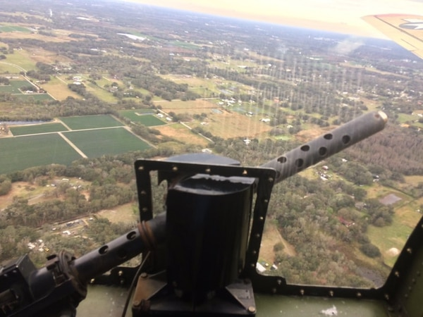 A view from an earlier flight of the restored Boeing B-17G Flying Fortress heavy bomber -- over the Tampa, Florida, area in February --that crashed Wednesday. (Howard Altman/Staff)