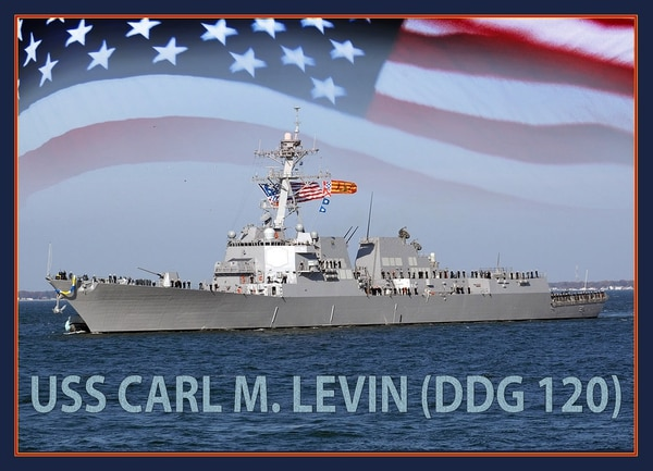 160411-N-NO101-001 WASHINGTON (April 11, 2016) An artist rendering of the future Arleigh Burke-class guided-missile destroyer USS Carl M. Levin (DDG 120). (U.S. Navy photo illustration/Released)