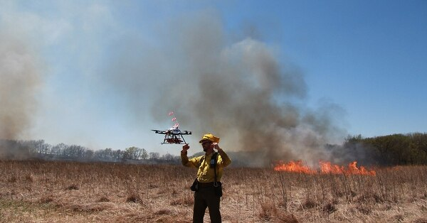 In a collaboration with the University of Nebraska-Lincoln's Nebraska Intelligent Mobile Unmanned Systems Laboratory, Homestead National Monument launched a prescribed burn program via drone in 2016. (Courtesy National Park Service)