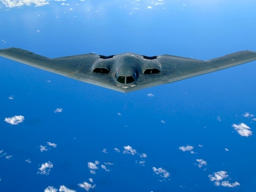 A B-2 Spirit soars after a refueling mission over the Pacific Ocean on May 30, 2006. (Staff Sgt. Bennie J. Davis III/U.S. Air Force)