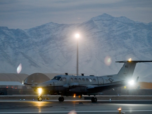 An MC-12W intelligence and reconnaissance aircraft returns from a mission over Afghanistan in 2014. (Senior Airman Kayla Newman/Air Force)