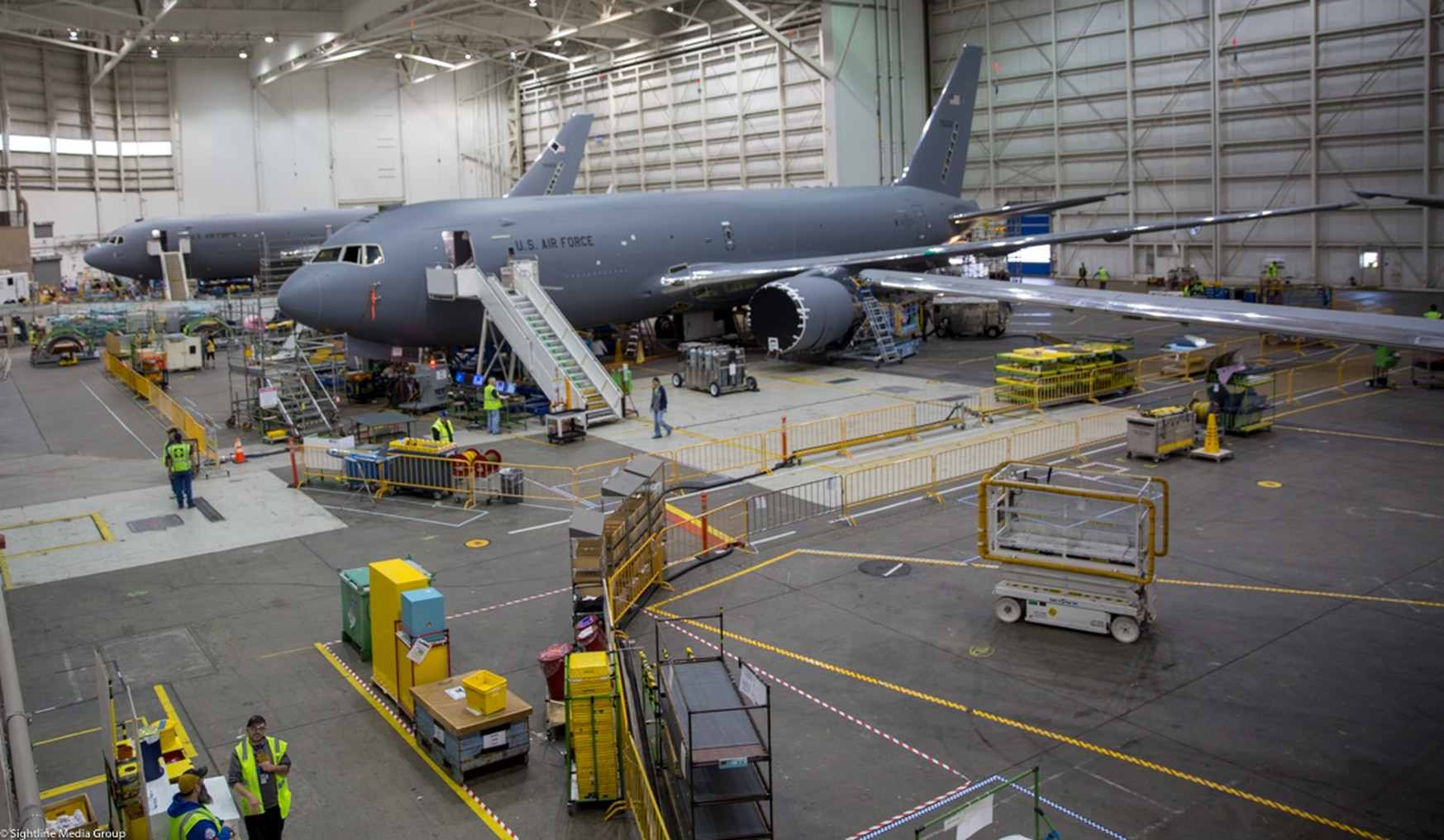 Boeing's Everett Modification Center is where commercial 767 aircraft are transformed into KC-46 Pegasus military aircraft. (Jeff Martin/Staff)