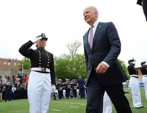 Vice President Joe Biden and Coast Guard Commandant Adm. Bob Papp welcomed the U.S. Coast Guard Academy's Class of 2013 as the Coast Guard's newest officers on May 22, 2013, at the Coast Guard Academy in New London, Conn. (Petty Officer 2nd Class Patrick Kelley/Coast Guard)