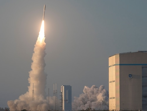 A United Launch Alliance Atlas V rocket launches into the air at Cape Canaveral Air Force Station, Fla., April 14. (Staff Sgt. Christopher Stoltz/U.S. Air Force)